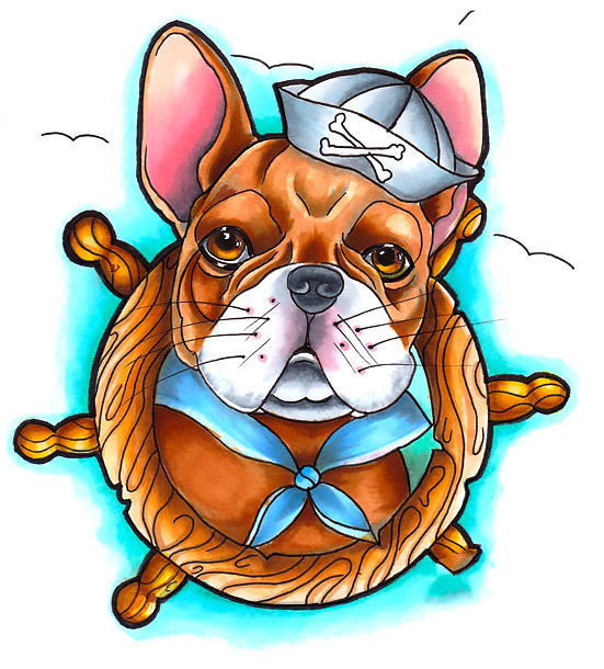 Neo Traditional Bulldog Tattoo Design