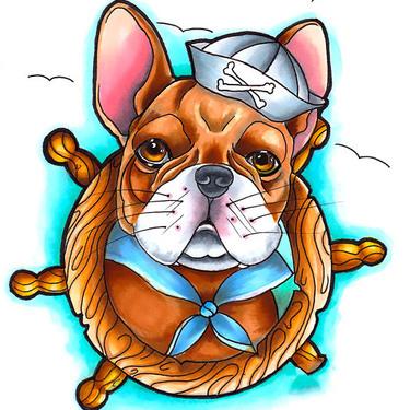 Neo Traditional Bulldog Tattoo