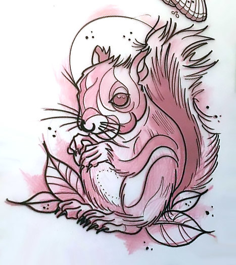 Neo Traditional Squirrel Tattoo Design