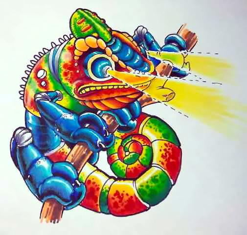 New School Chameleon Tattoo Design