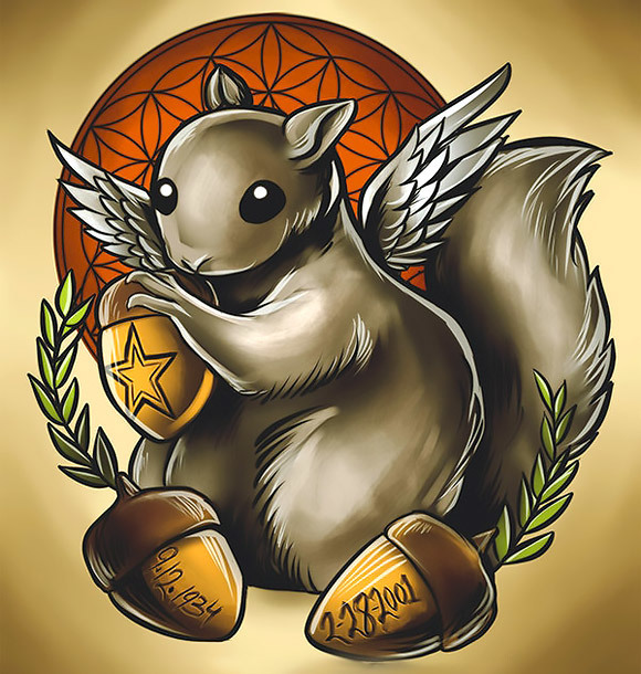 New School Squirrel Tattoo Design