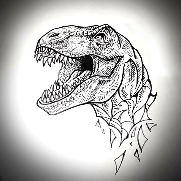 Nice Dinosaur Head Tattoo Design