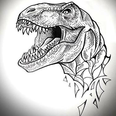 Nice Dinosaur Head Tattoo