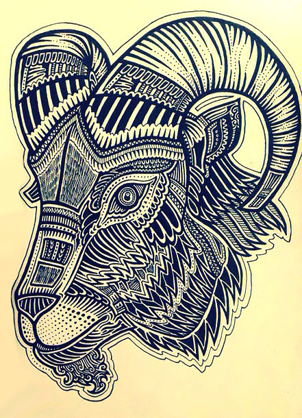 Ornate Goat Tattoo Design