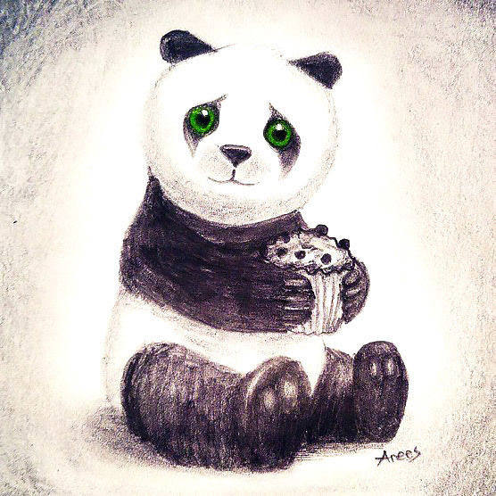 Panda With Cake Tattoo Design