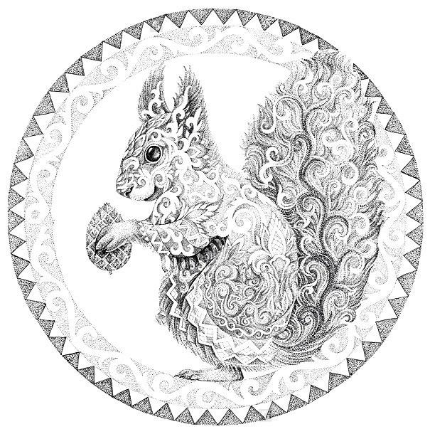 Pattern Squirrel Tattoo Design