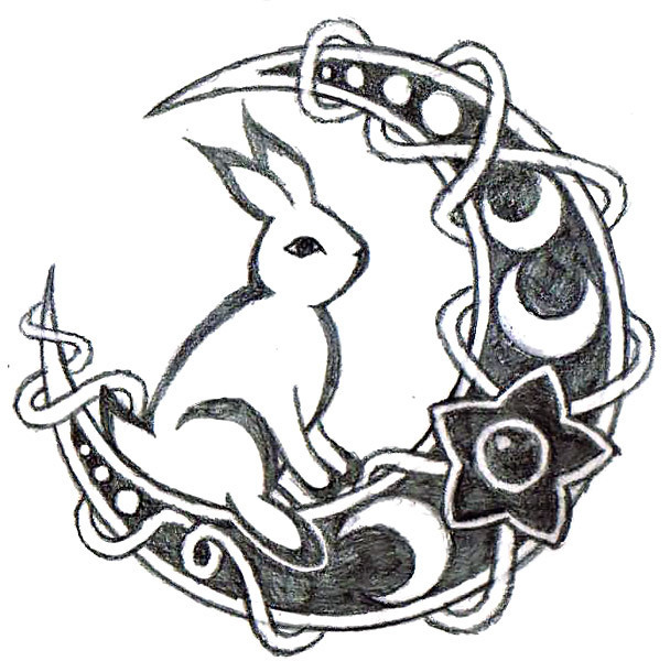 Rabbit on The Moon Tattoo Design