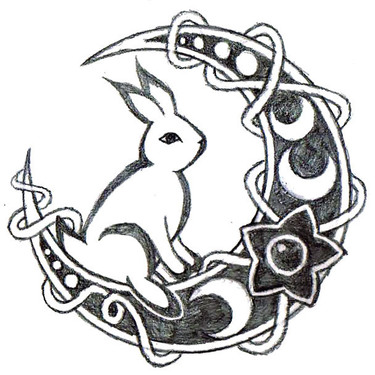Rabbit on The Moon Tattoo
