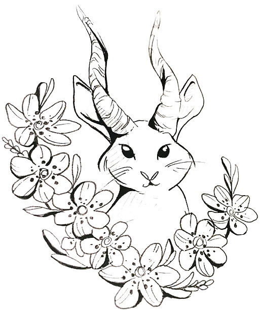 Rabbit With Horns Tattoo Design