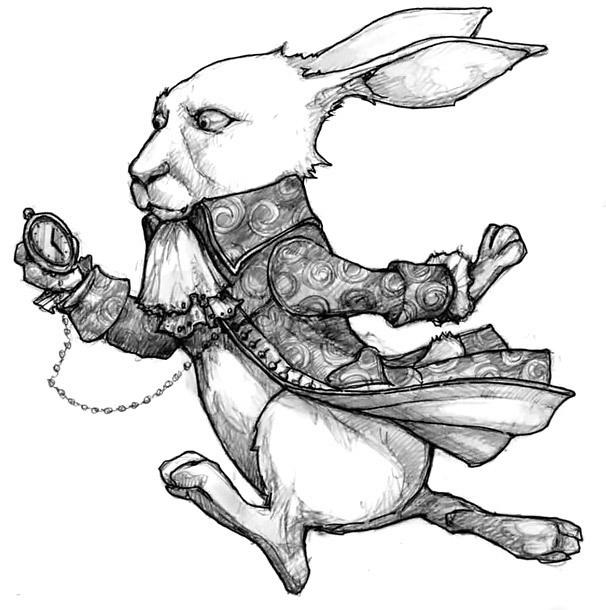 Rabbit With Pocket Watch Tattoo Design