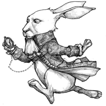 Rabbit With Pocket Watch Tattoo