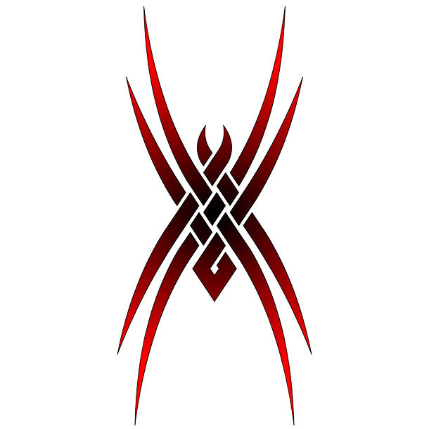 Red Tribal Tarantula Tattoo Design