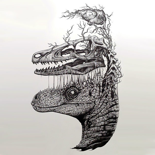 Surreal Dinosaur Head Tattoo Design