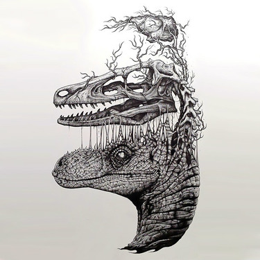 Surreal Dinosaur Head Tattoo