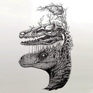 Surreal Dinosaur Head Tattoo
