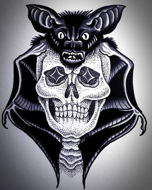 Traditional Bat Skull Tattoo Design