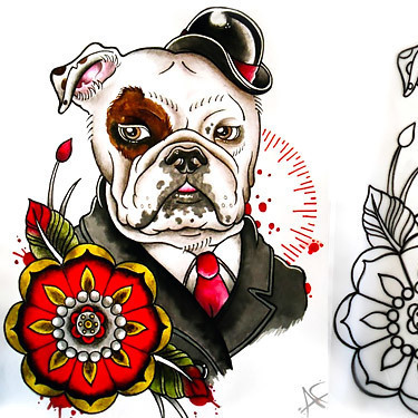 Traditional Bulldog Tattoo