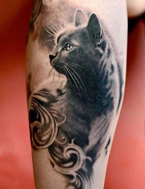 Black and Grey Cat Tattoo Idea