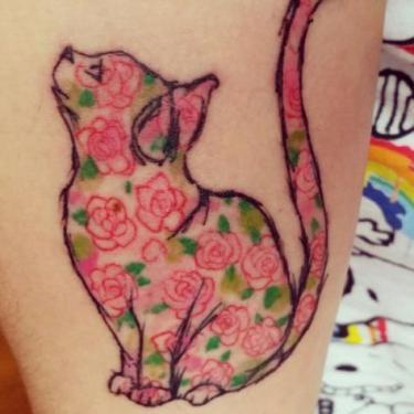 Floral Feline Tattoo