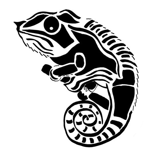Tribal Chameleon on Brach Tattoo Design