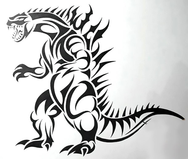 Tribal Dinosaur Tattoo Design
