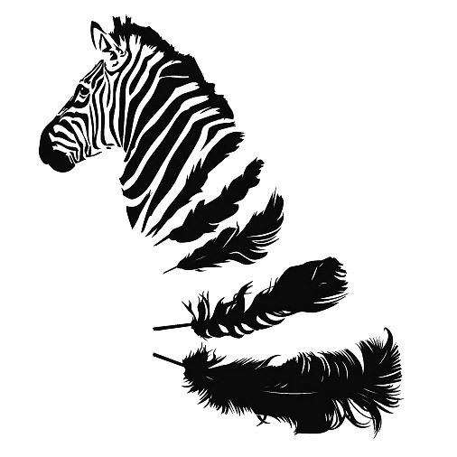 Zebra Feather Tattoo Design