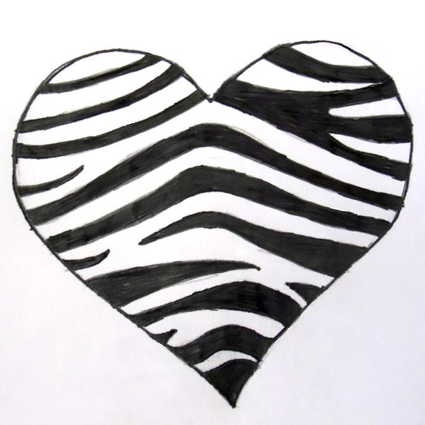 Zebra Heart Tattoo Design