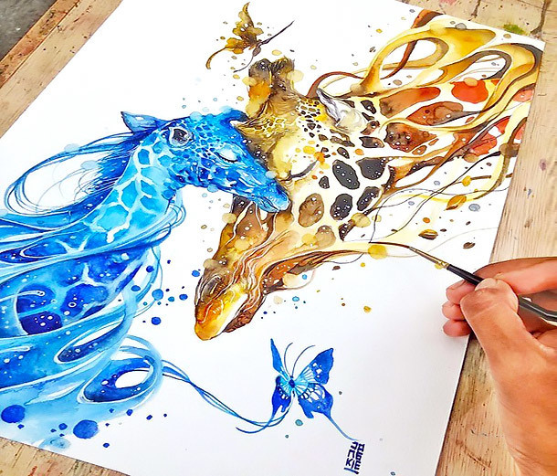 Amazing Giraffe Love Tattoo Design