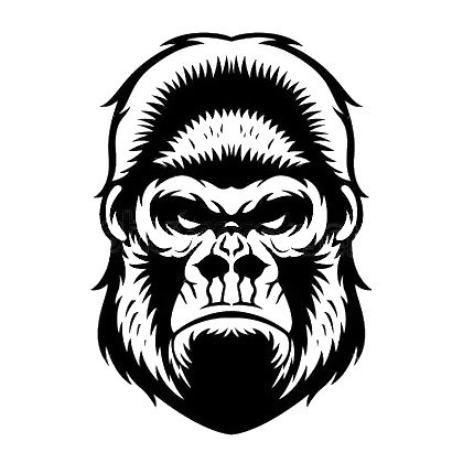 Angry Gorilla Face Tattoo Design