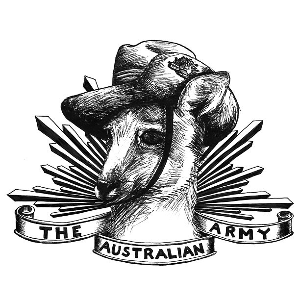Australian Army Kangaroo Tattoo Design
