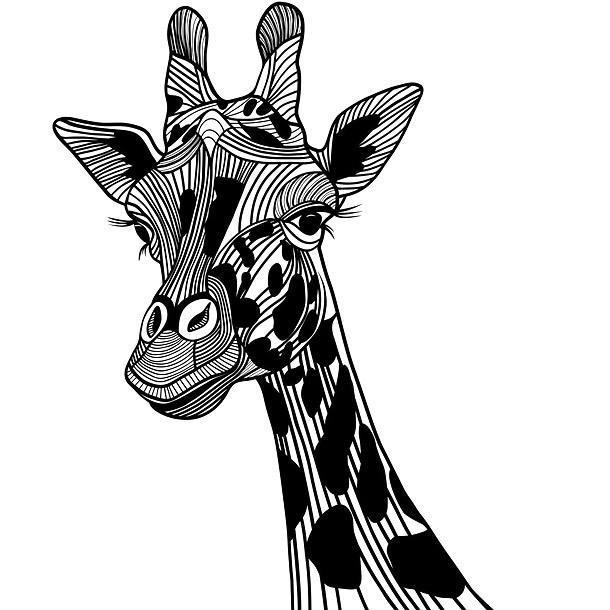 Black Giraffe Tattoo Design