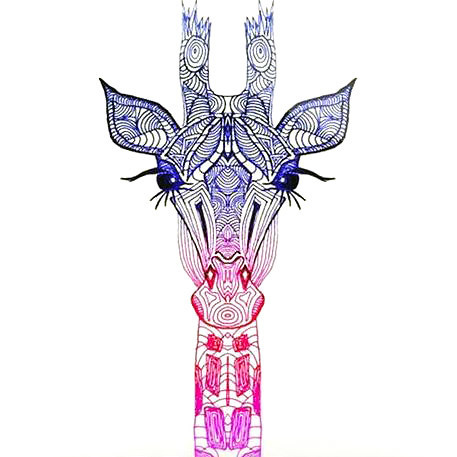 Colorful Giraffe Head Tattoo Design