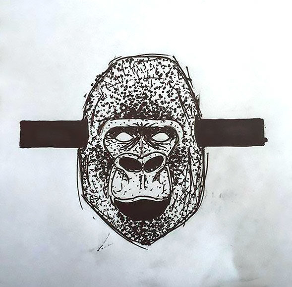 Crazy Gorilla Head Tattoo Design