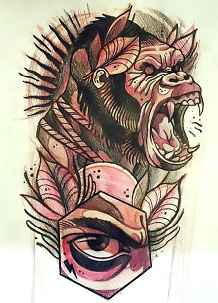 Creative Gorilla Tattoo Sketch Tattoo Design