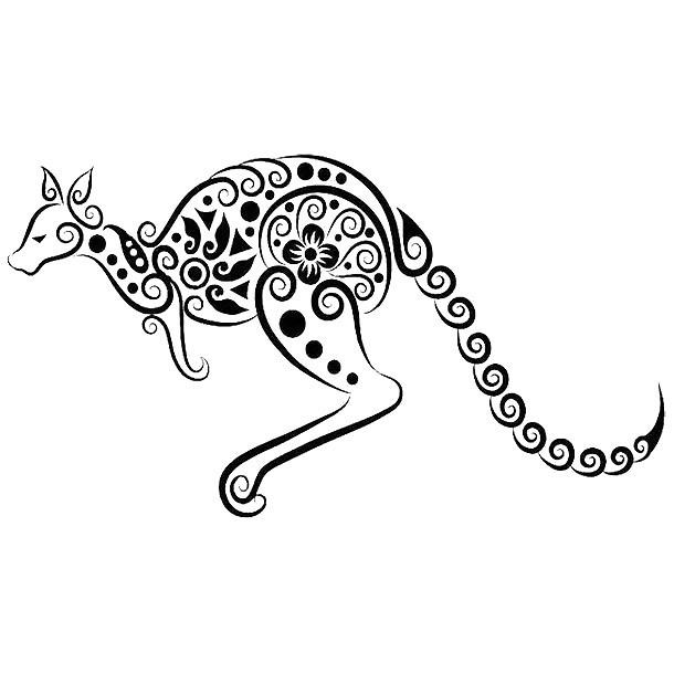 Decorative Kangaroo Tattoo Design