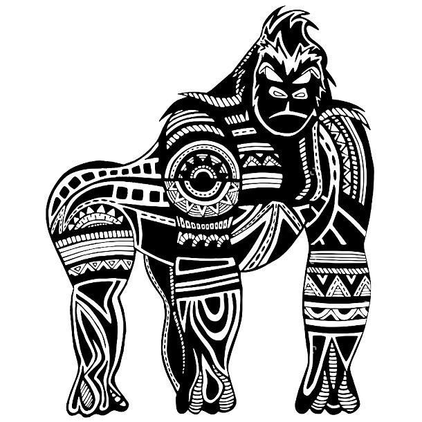 Ethnic Manly Gorilla Tattoo Design
