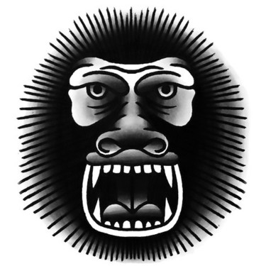 Funny Traditional Gorilla Tattoo