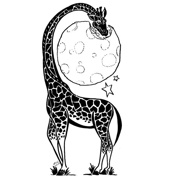 Giraffe Eating Moon Tattoo Design