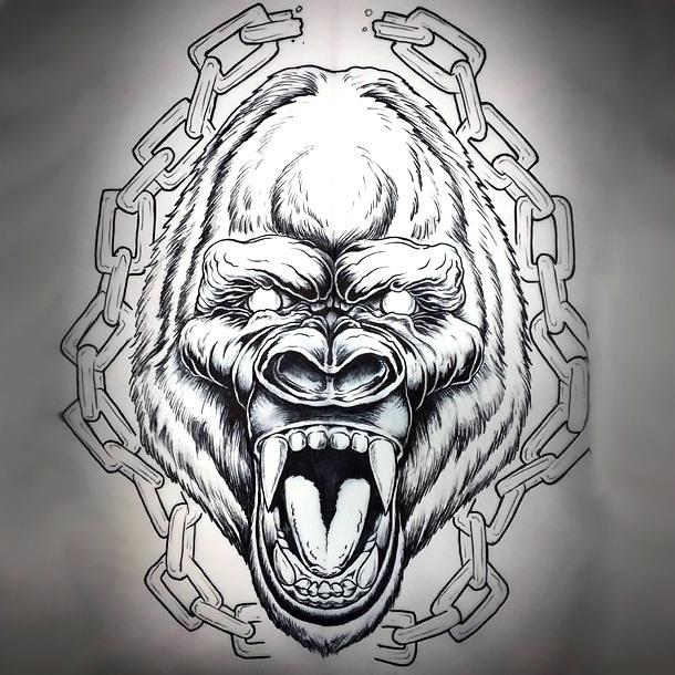 Gorilla and Chain Tattoo Design