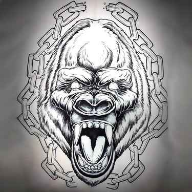 Gorilla and Chain Tattoo