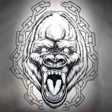 Gorilla and Chain Tattoo