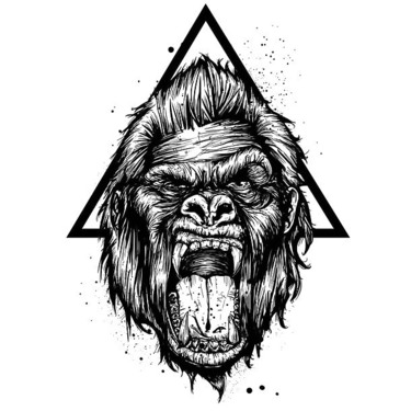 Gorilla and Triangle Tattoo