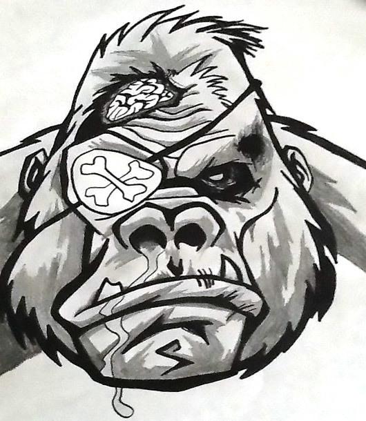 Gorilla Pirate Tattoo Design