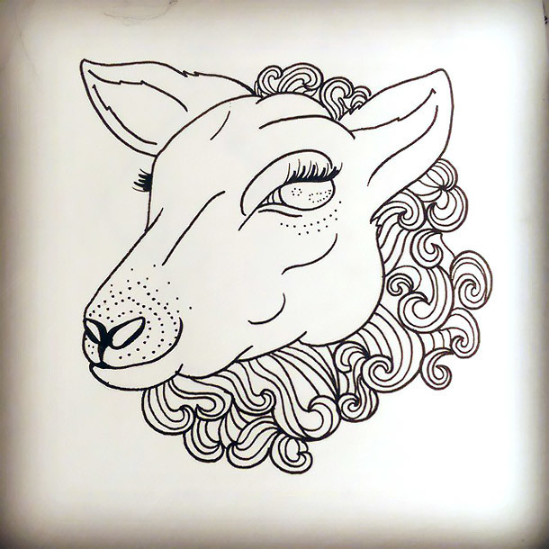 Lovely Sheep Tattoo Design