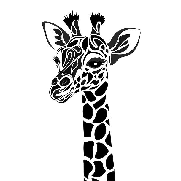 Nice Giraffe Face Tattoo Design