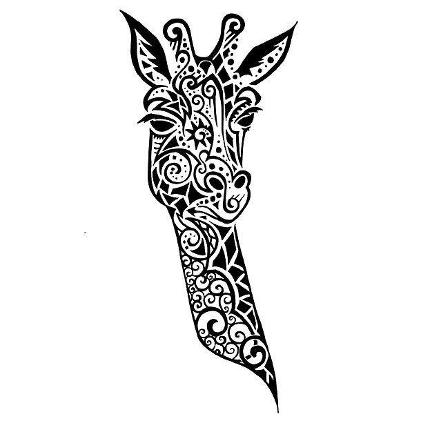 Nice Giraffe Head Tattoo Design