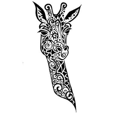 Nice Giraffe Head Tattoo
