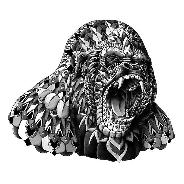 Ornate Roaring Gorilla Tattoo Design