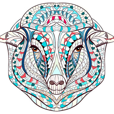 Patterned Sheep Head Tattoo
