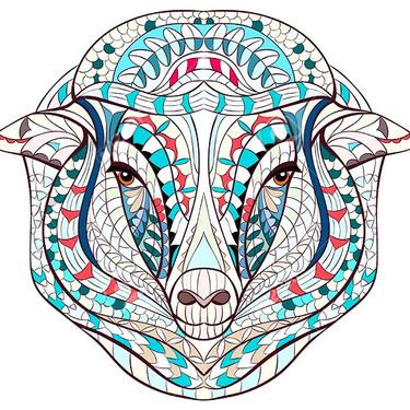 Patterned Sheep Head Tattoo